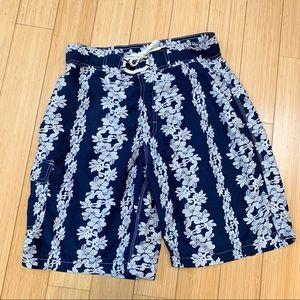 BurnSide tropical bathing suit swim trunks, 32.